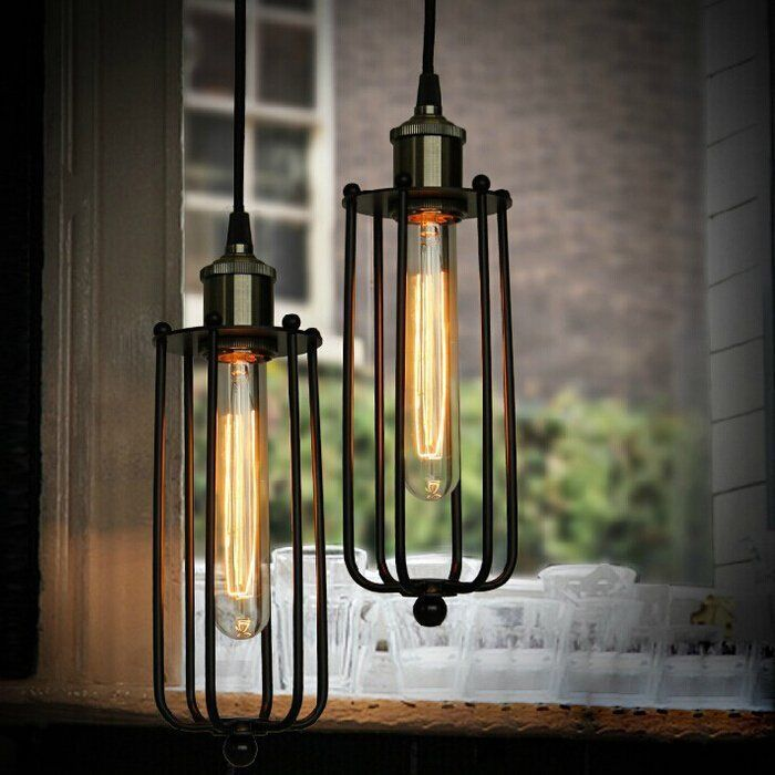 Edison Vintage Iron Cage Wire Pendant Light Hanging Lamp Shade Bar Cafe  Fitting