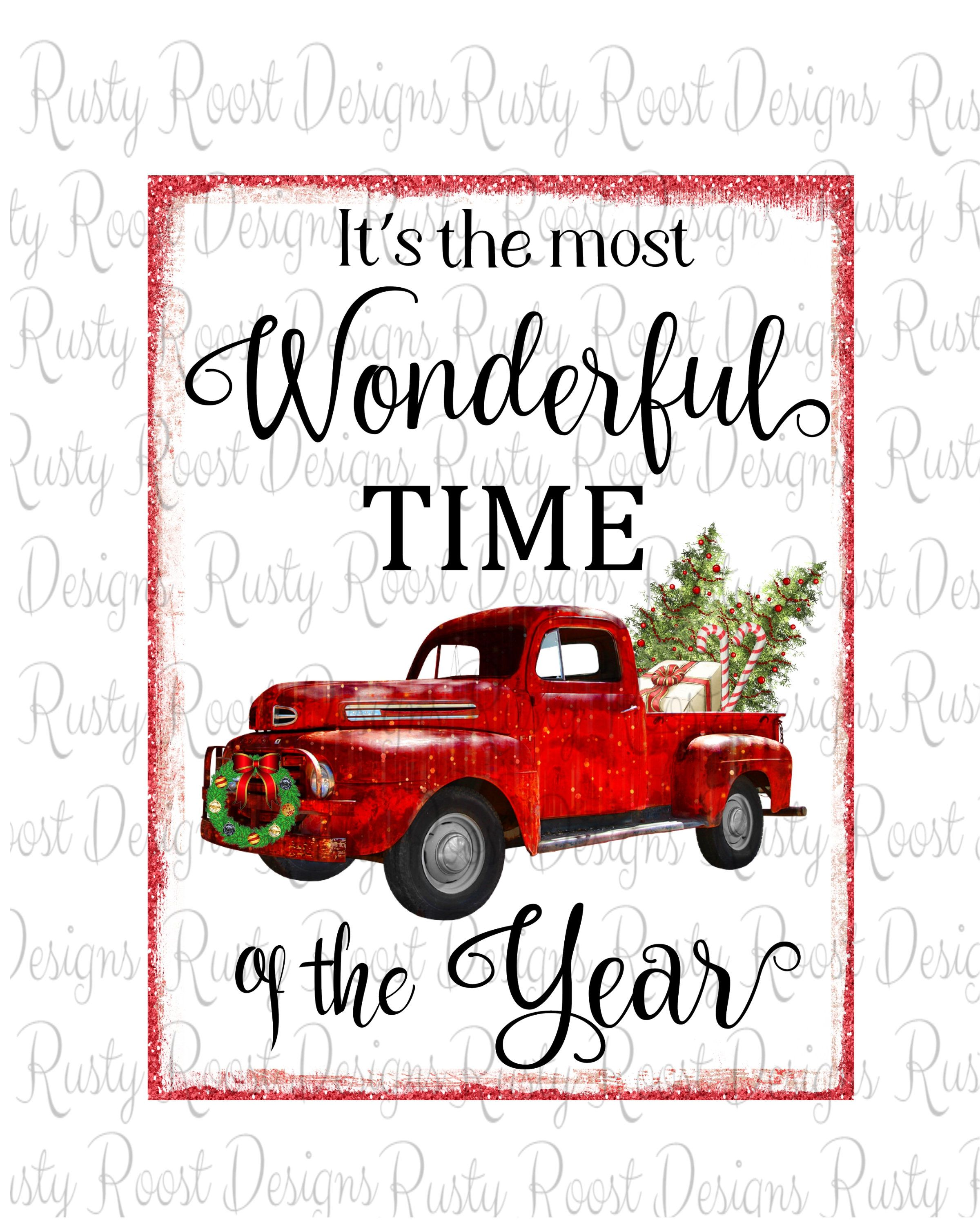 Watercolor Christmas Truck Vintage Red Pickup Pine Tree Etsy Christmas Watercolor Christmas Paintings Christmas Drawing