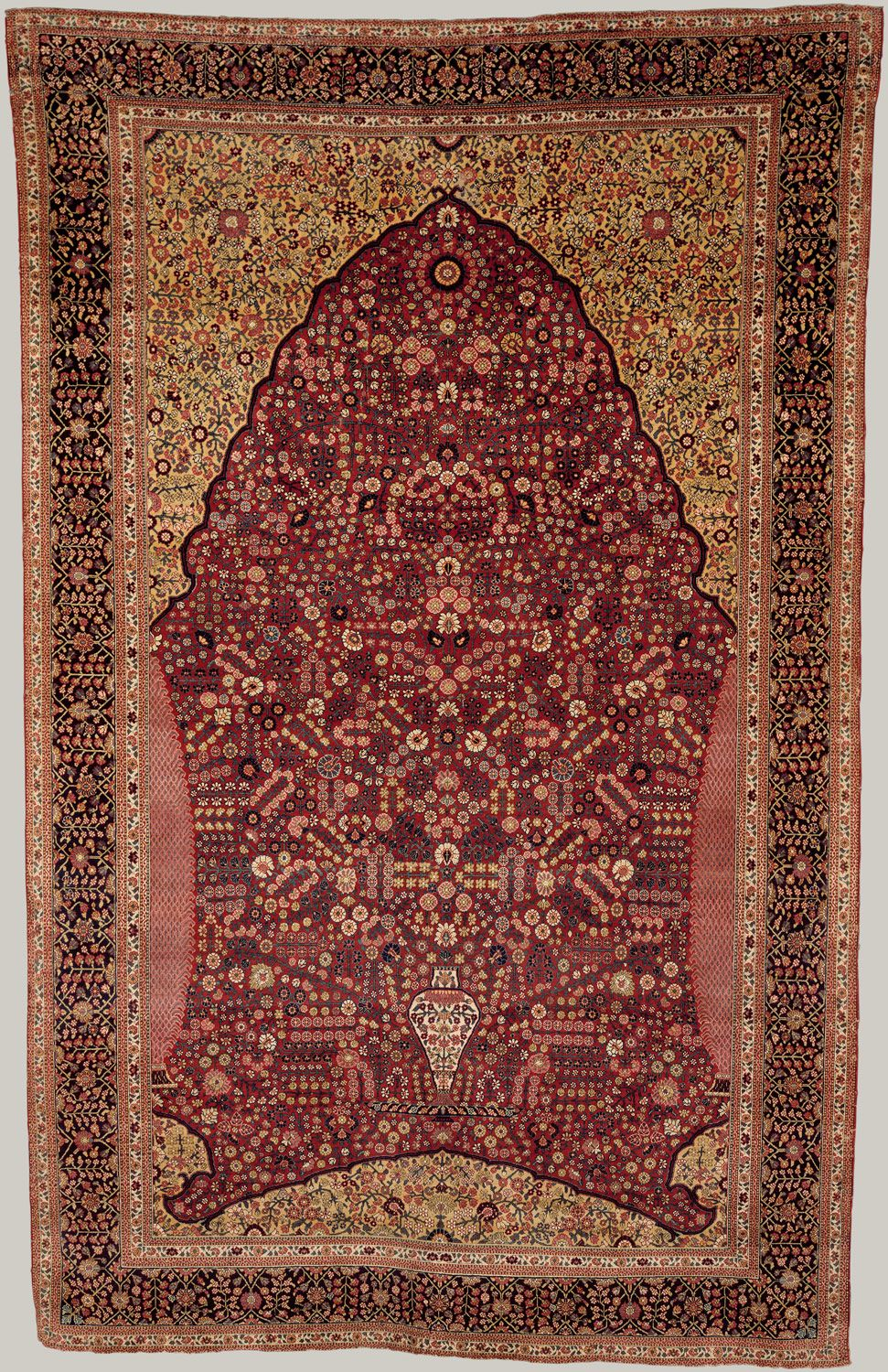 pashmina carpet with gateway-and-millefleur pattern | 18th century