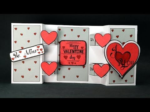 Homemade Valentine Card Diy Trifold Love Card Step By Step Youtube Valentines Cards Happy Valentines Card Diy Valentines Cards