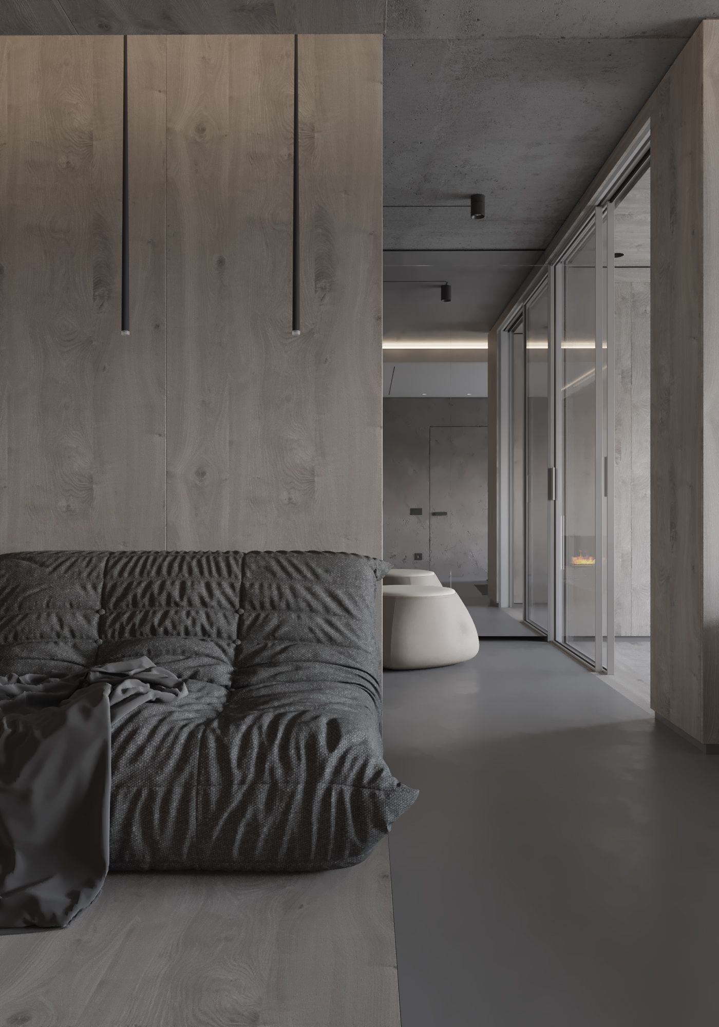 Holzverkleidung Wohnzimmer Grey Apartment Interior Design Pinterest