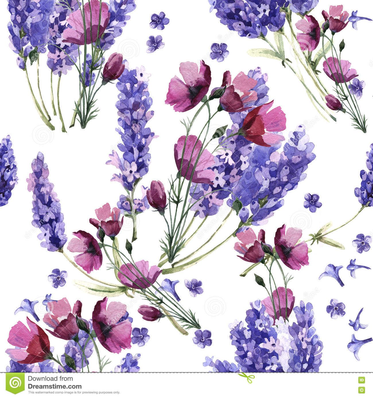 Wildflower Lavender Flower Pattern In A Watercolor Style Isolated Illustration About Summer Lavender Pa Flower Patterns Watercolor Pattern Lilac Background