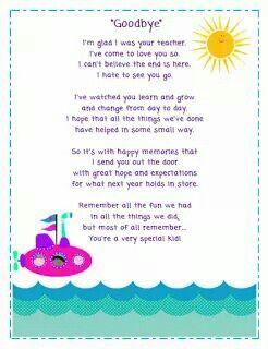 Goodbye letter to kids from teacher