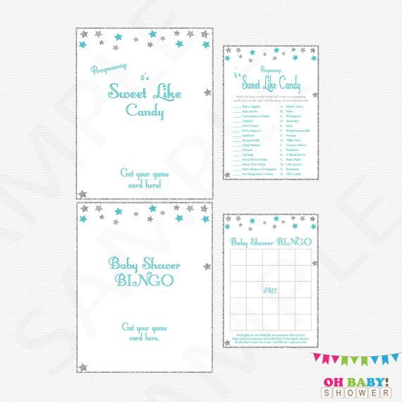 Baby Shower Games Bundle Games Pack Twinkle Twinkle Little Star Teal Baby Shower Games printable baby shower boy sign INSTANT DOWNLOAD STGST