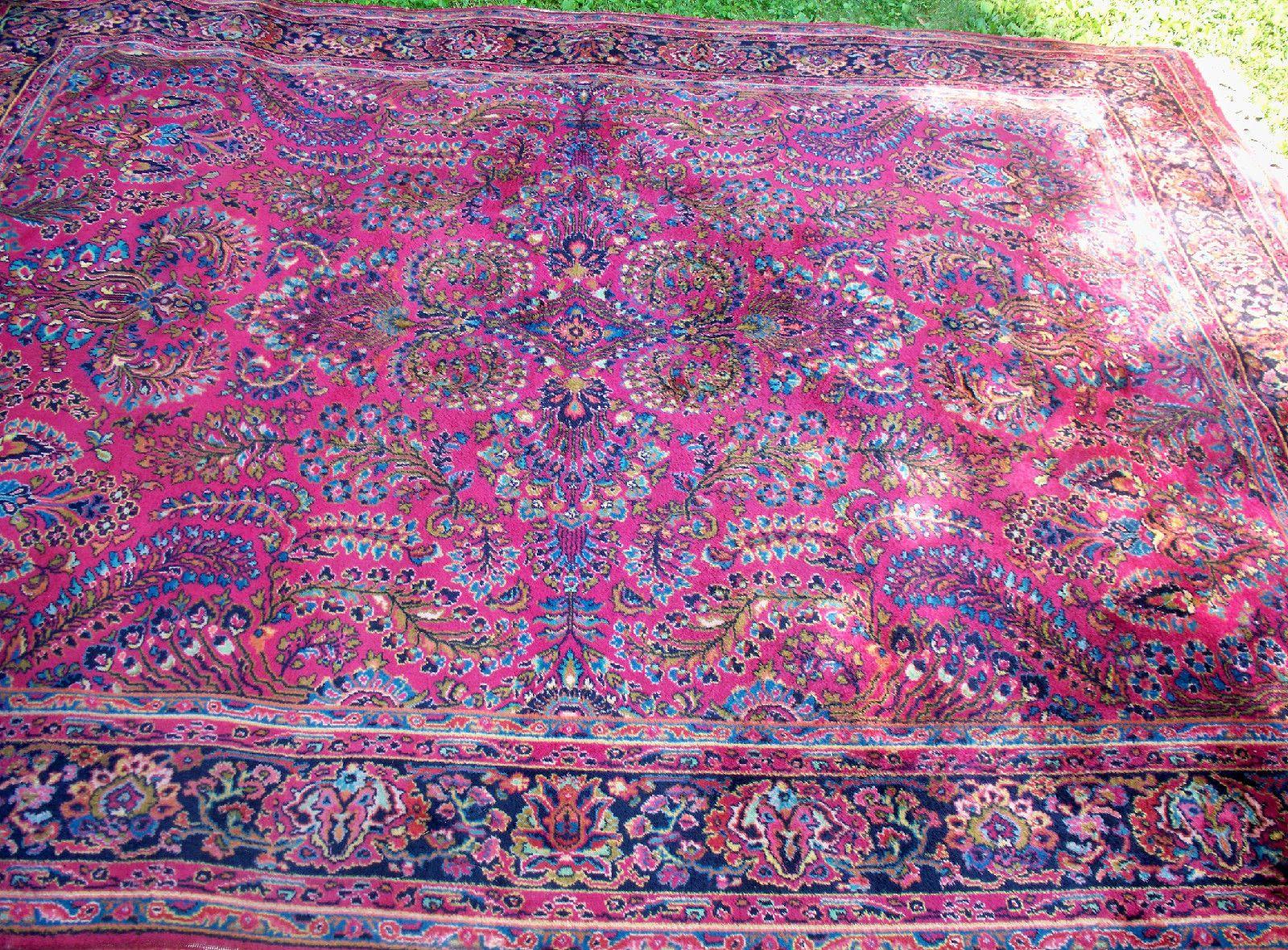 8 6 X 10 Vintage Karastan Sarouk Pattern 755 Wool Rug Usa Made Reds Ebay