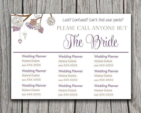 Heart String Rustic Please Call Anyone But the Bride Lavender - contact card template for word