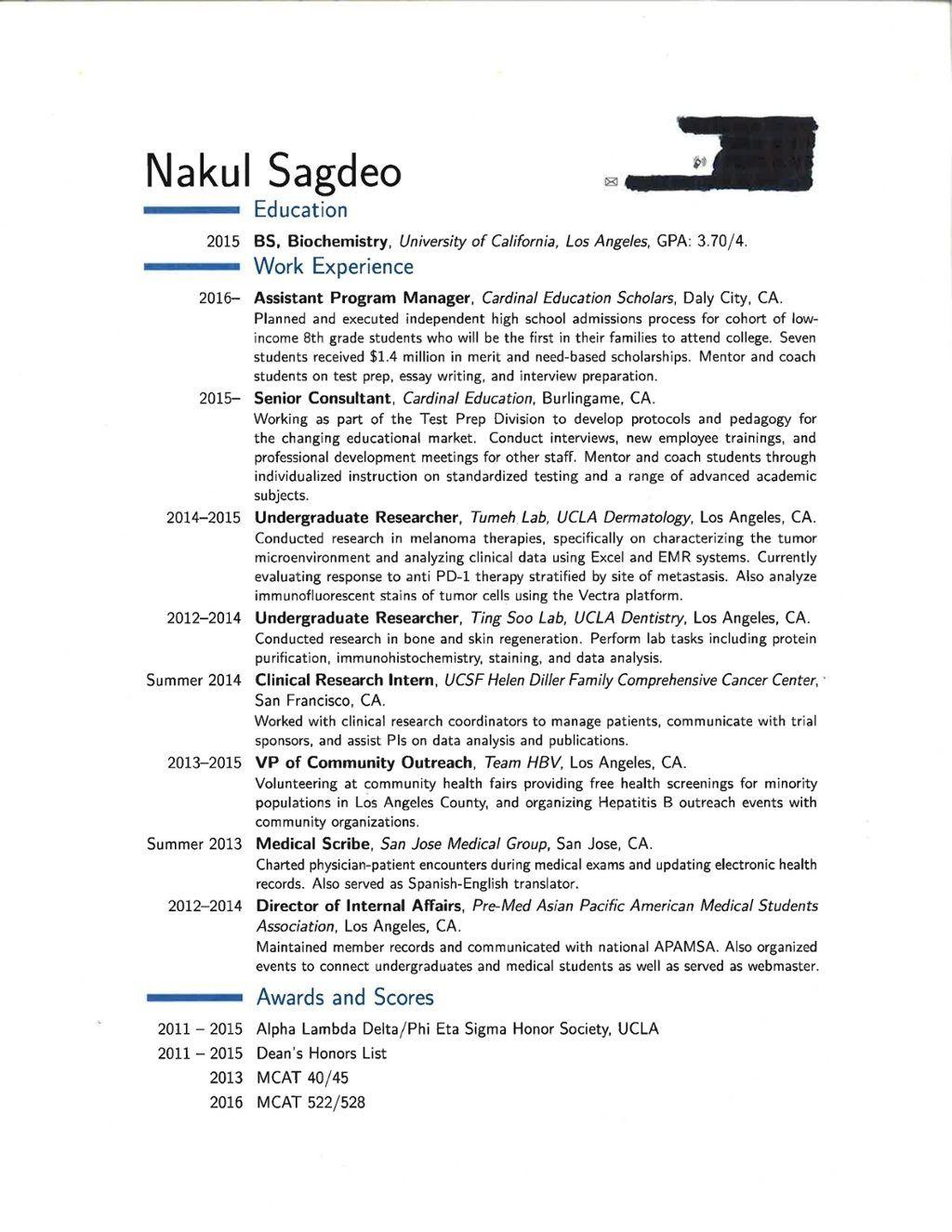 anatomy of a successful medical school resume