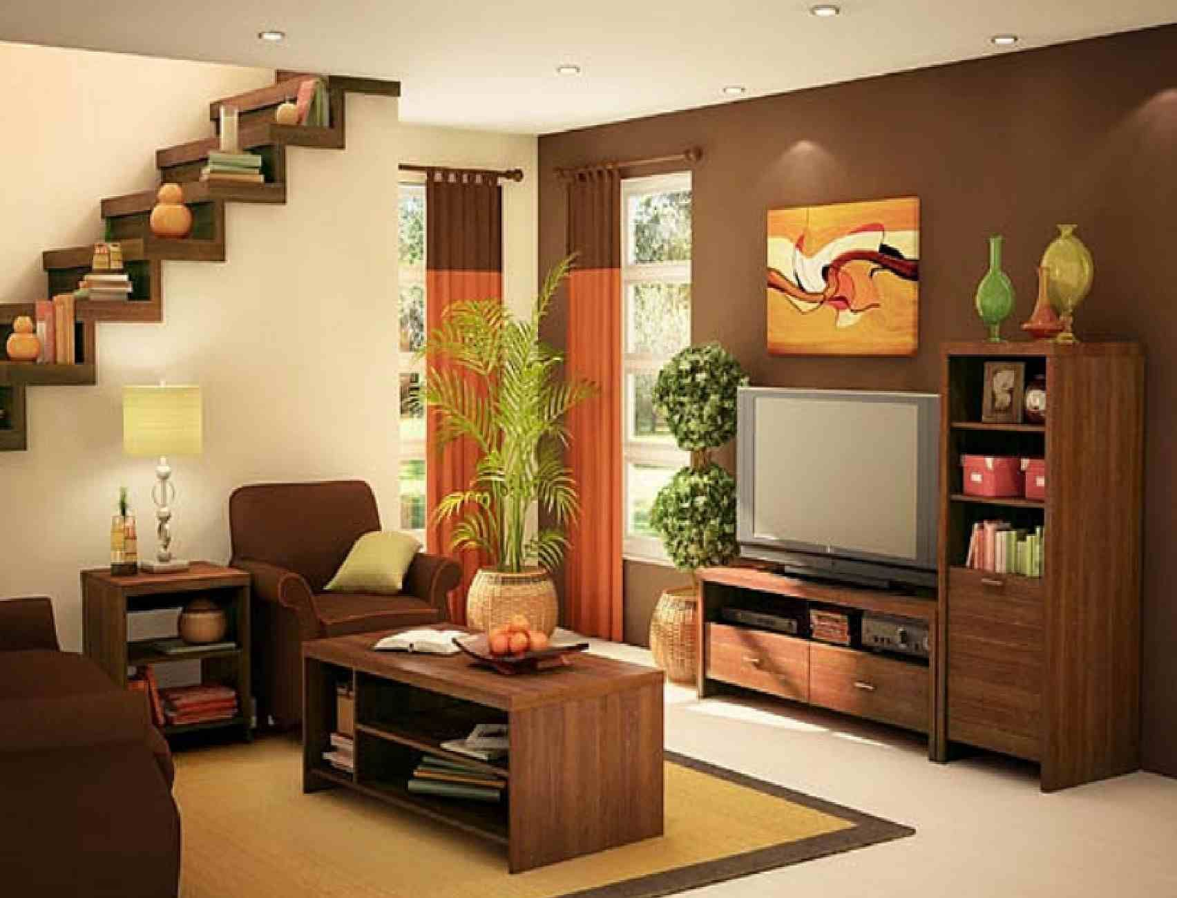 Excellent small apartment living room idea with brown and cream wall paint colors and brown arm