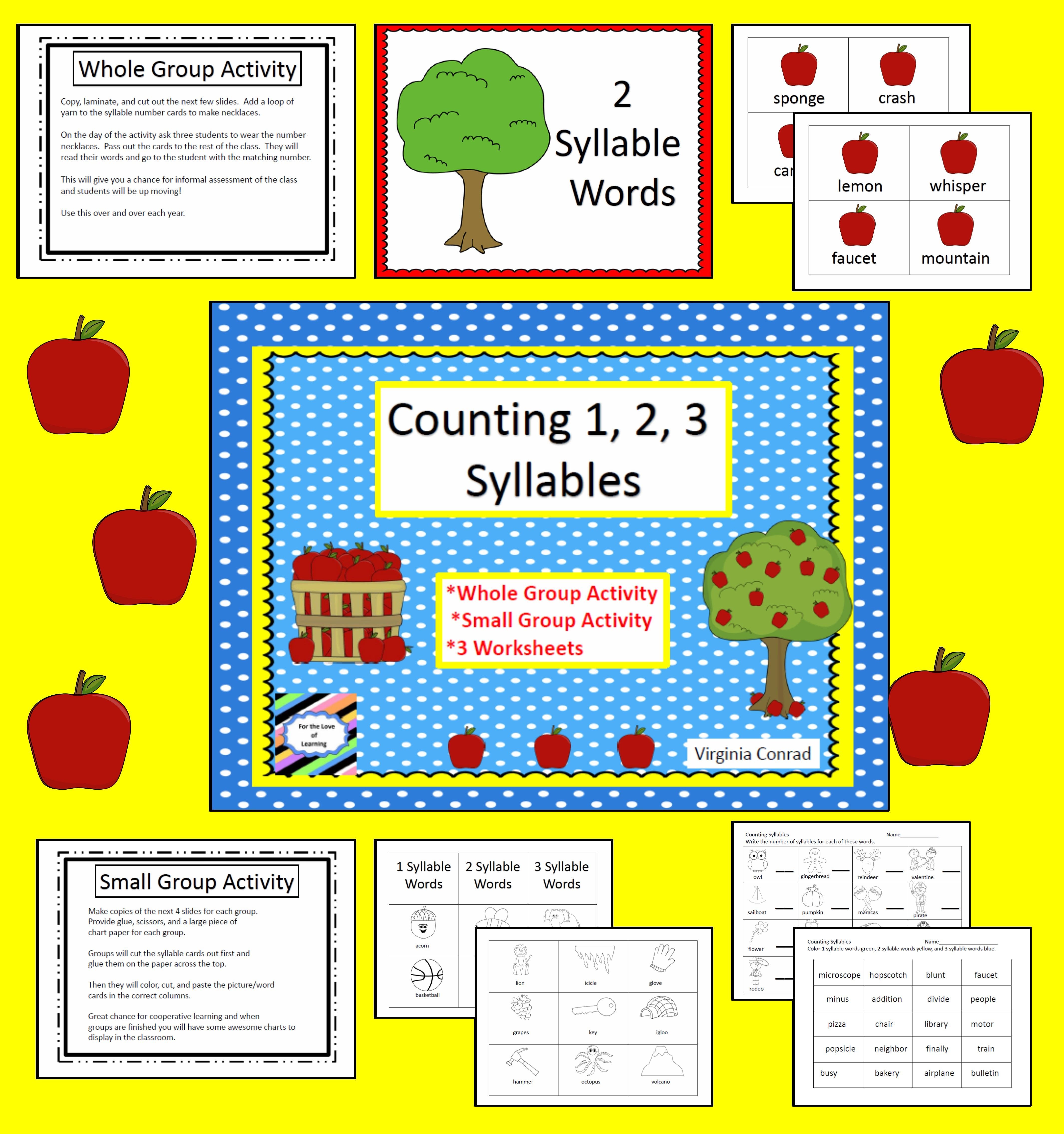 Counting SyllablesApple Theme Autumn activities for
