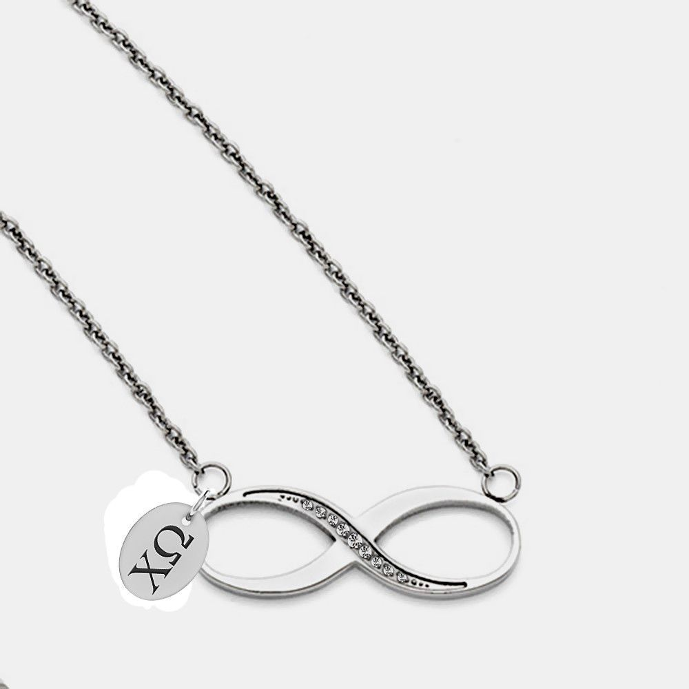 Chi Omega Greek Letters Stainless Steel Infinity Necklace Infinity