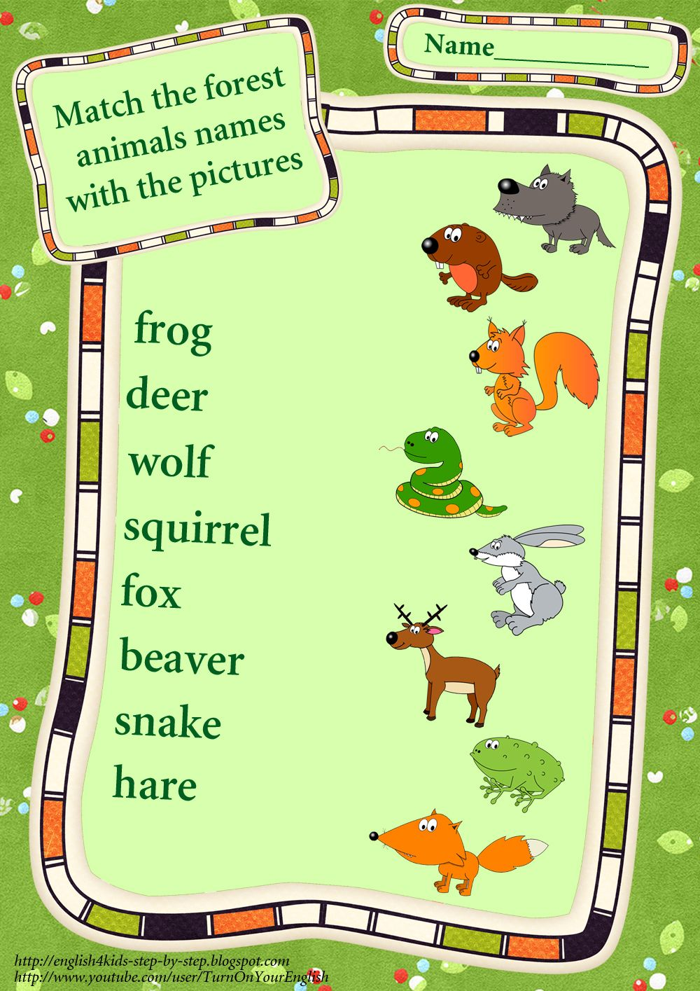 Pin by Turn on Your English on Forest Animals Flashcards