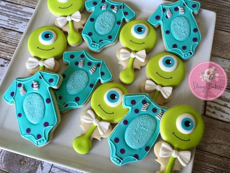 Shing Bakes Monsters Inc inspired baby shower cookies Designs