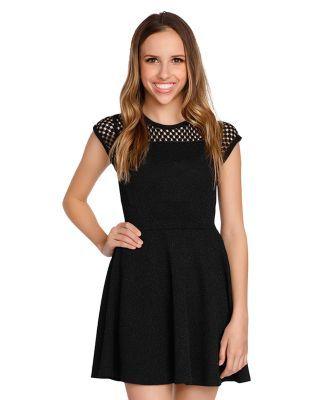 Sally Miller Girls' Zoey Mesh Lace Sparkle Dress - Big Kid - Black #sallymiller