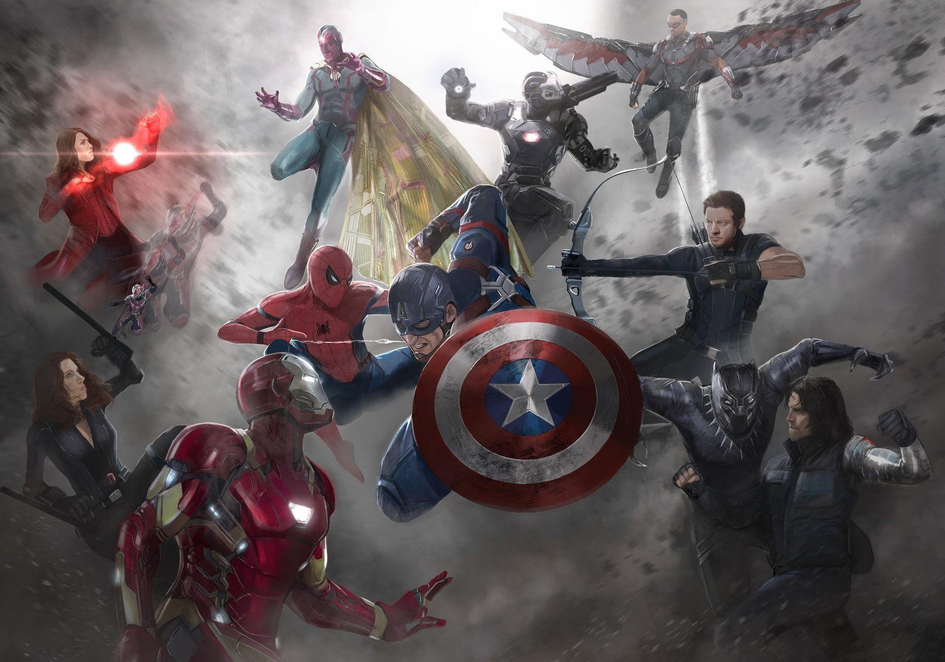 Captain America Captain America Civil War Ant Man Black Widow Falcon Marvel Comics Hawkeye Iron Captain America Wallpaper Civil War Artwork Civil War Art