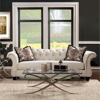 Furniture Of America Perm Traditional Fabric Tufted Sofa