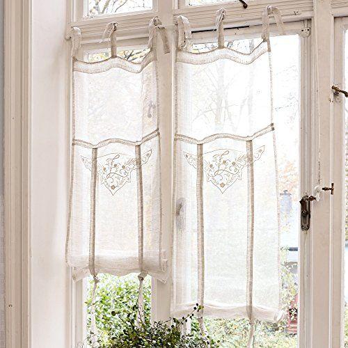 LOBERON Romantische Gardine Espaon im Landhausstil, creme 100 - küche gardinen landhausstil