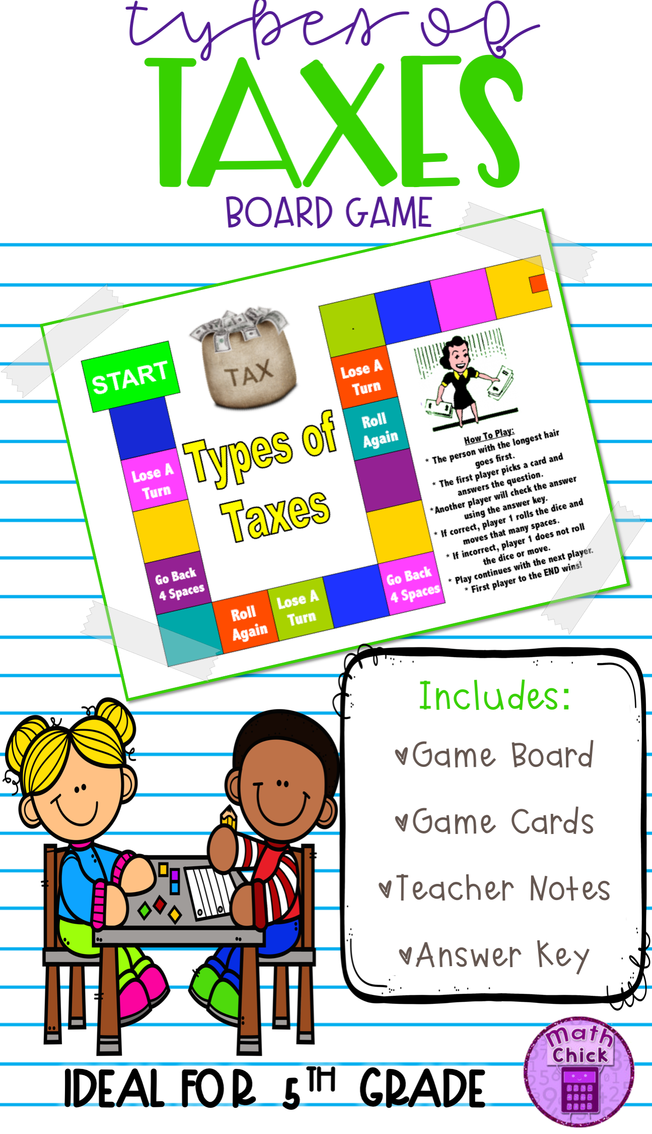 Types of Taxes Board Game TEKS 5 10A | MATH GALORE & MORE