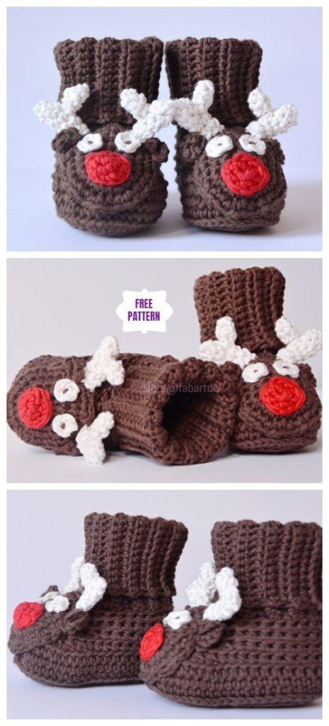 Crochet Christmas Reindeer Boots Free Crochet Pattern #crochetelements