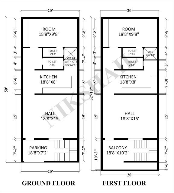 20x50 House Plan With 3d Elevation By Nikshail 2bhk House Plan