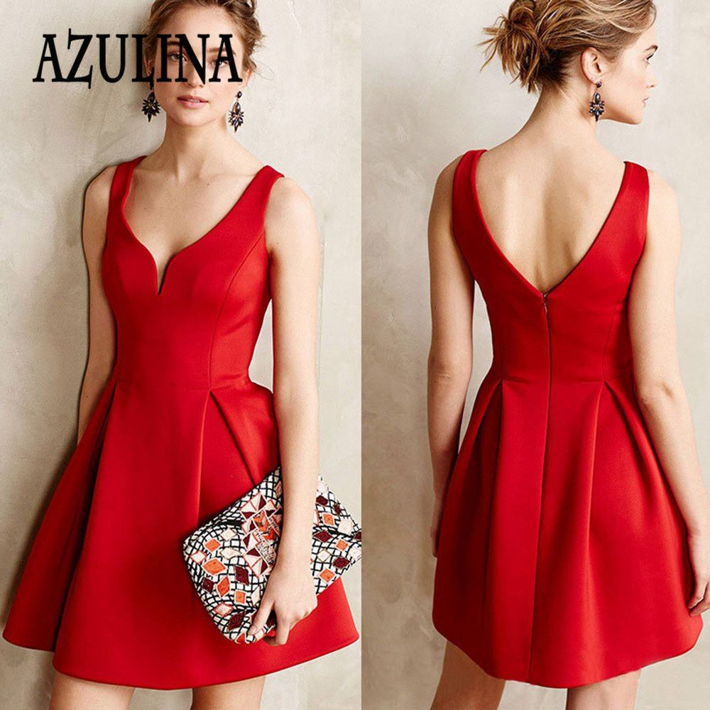 c0ec6768b61 Find More Dresses Information about AZULINA Europe Style Summer Women Dress  Sexy Deep V Neck Halter