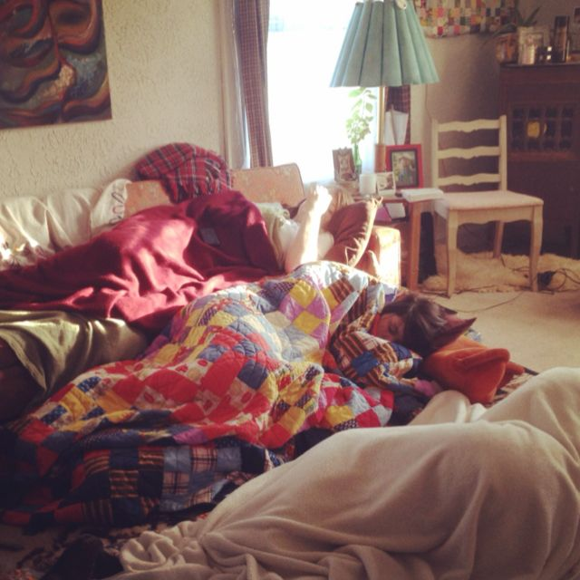 Living Room Covered In Sleeping Friends Bean Bag Chair Laundry Clothes Home Decor