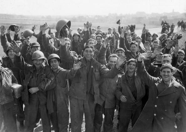 American prisoners of war celebrate their liberation from ...
