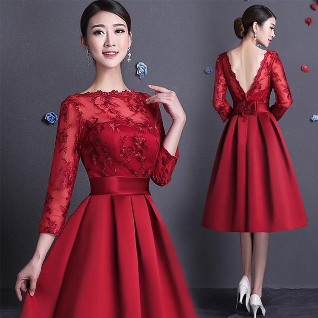 Knee length Lace Bridesmaid dresses Full long sleeve A line Satin ...