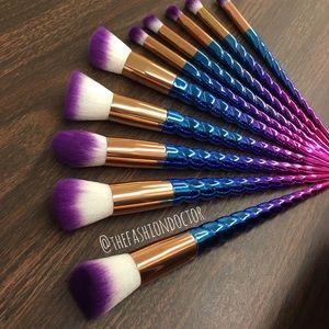 10 piece unicorn ombré makeup brush set  unicorn horn