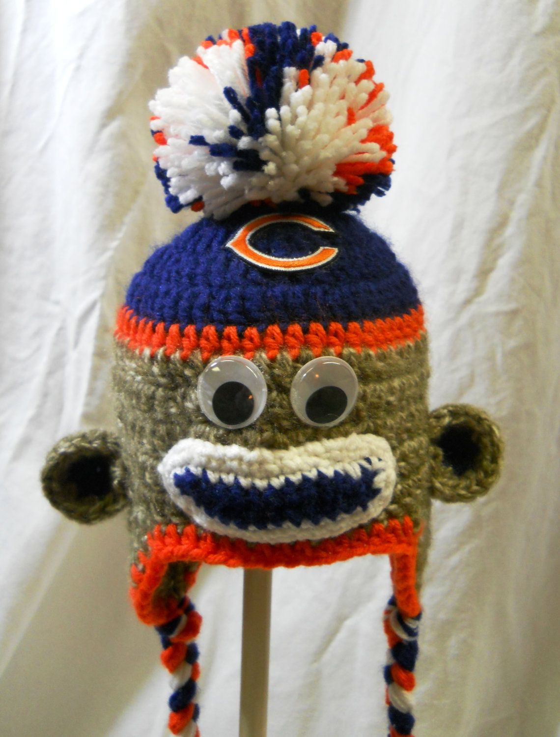 Chicago Bears Crochet Sock Monkey Hat for kids age 4 to 8 with logo ...