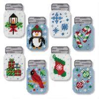 Herrschners Royal Christmas Mason Jars Plastic Canvas Kit