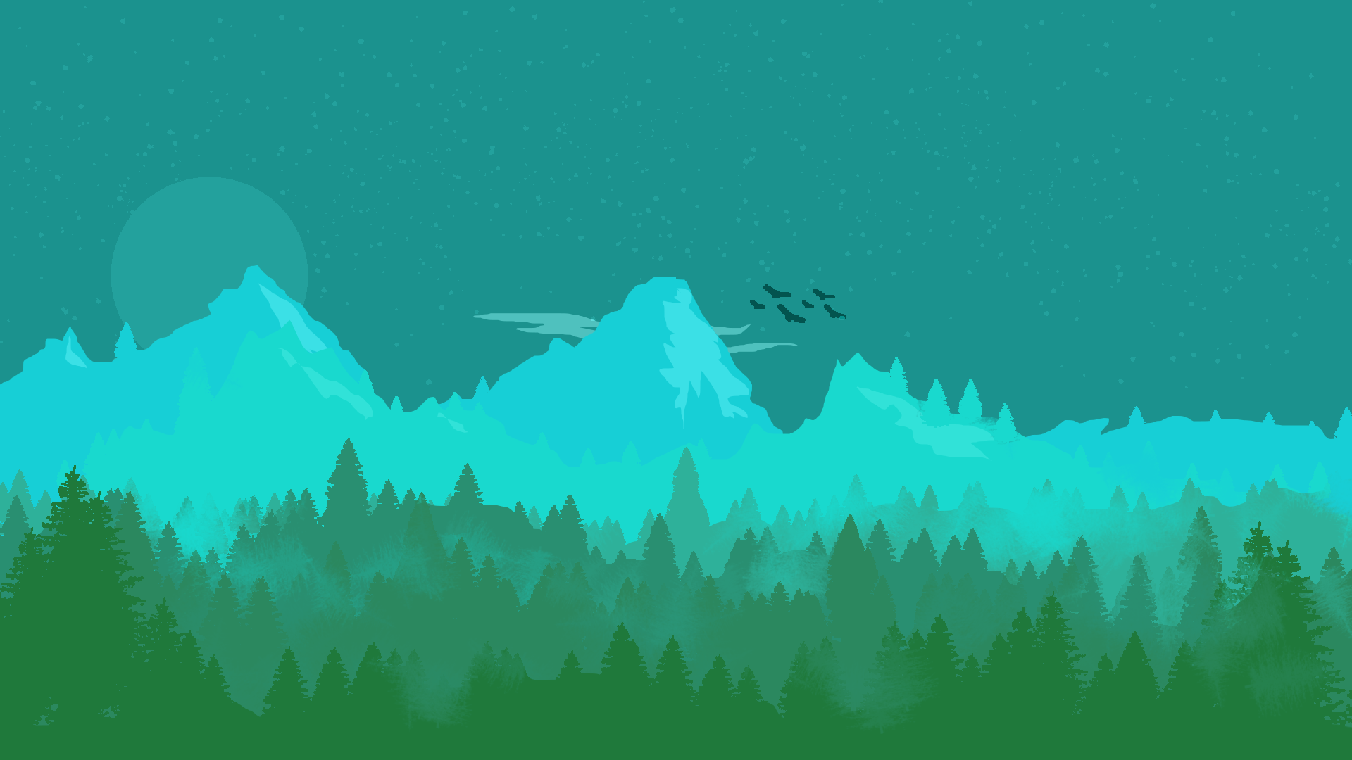 Firewatch style forest wallpaper [1920x1080]