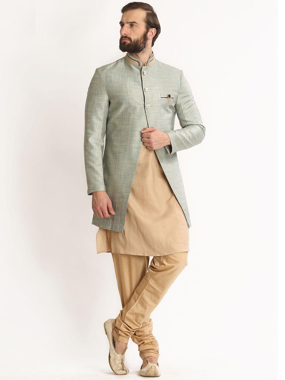 Beige silk dressy wedding wear indo western mens latest fashions