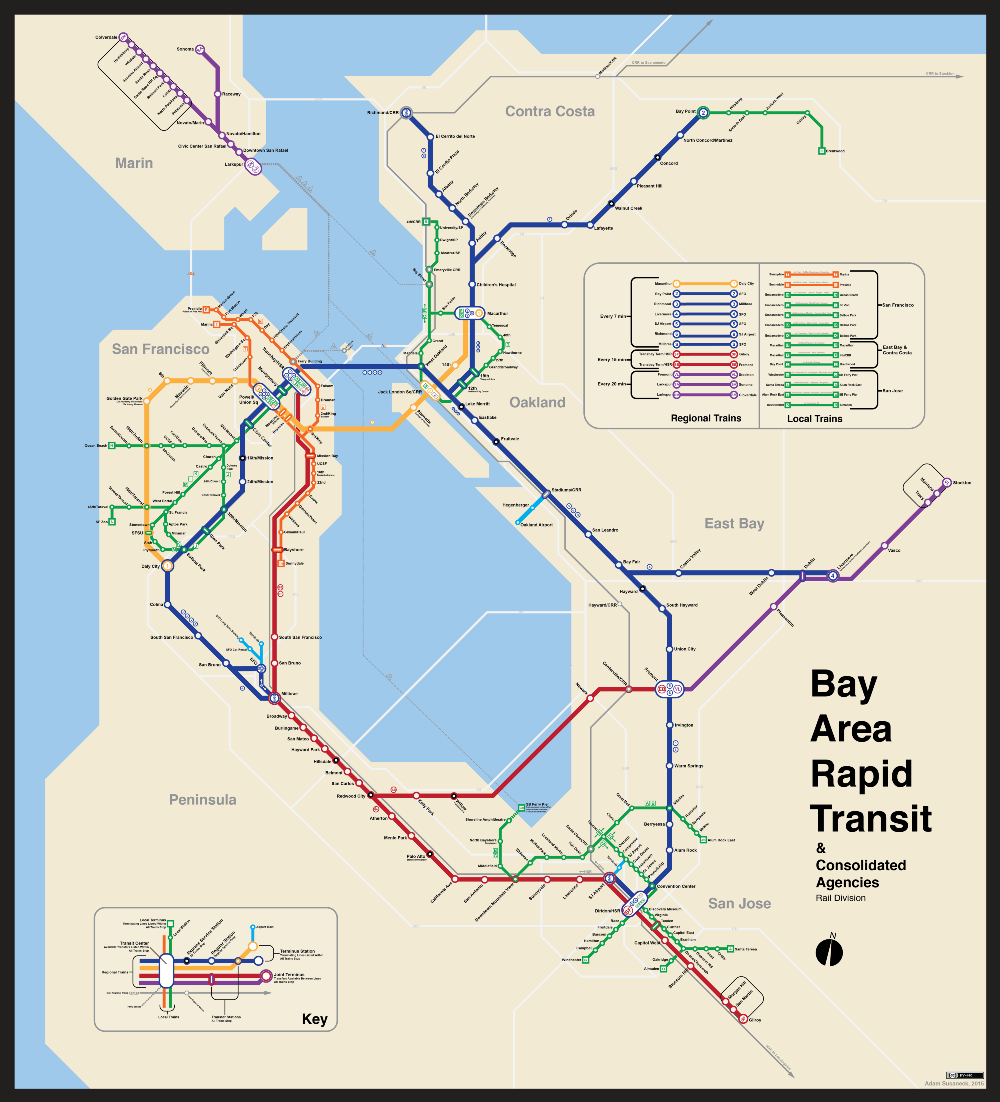 1963 Nyc Subway Map.Bay Area 2050 The Bart Metro Map Miscellaneous Bay Area Rapid