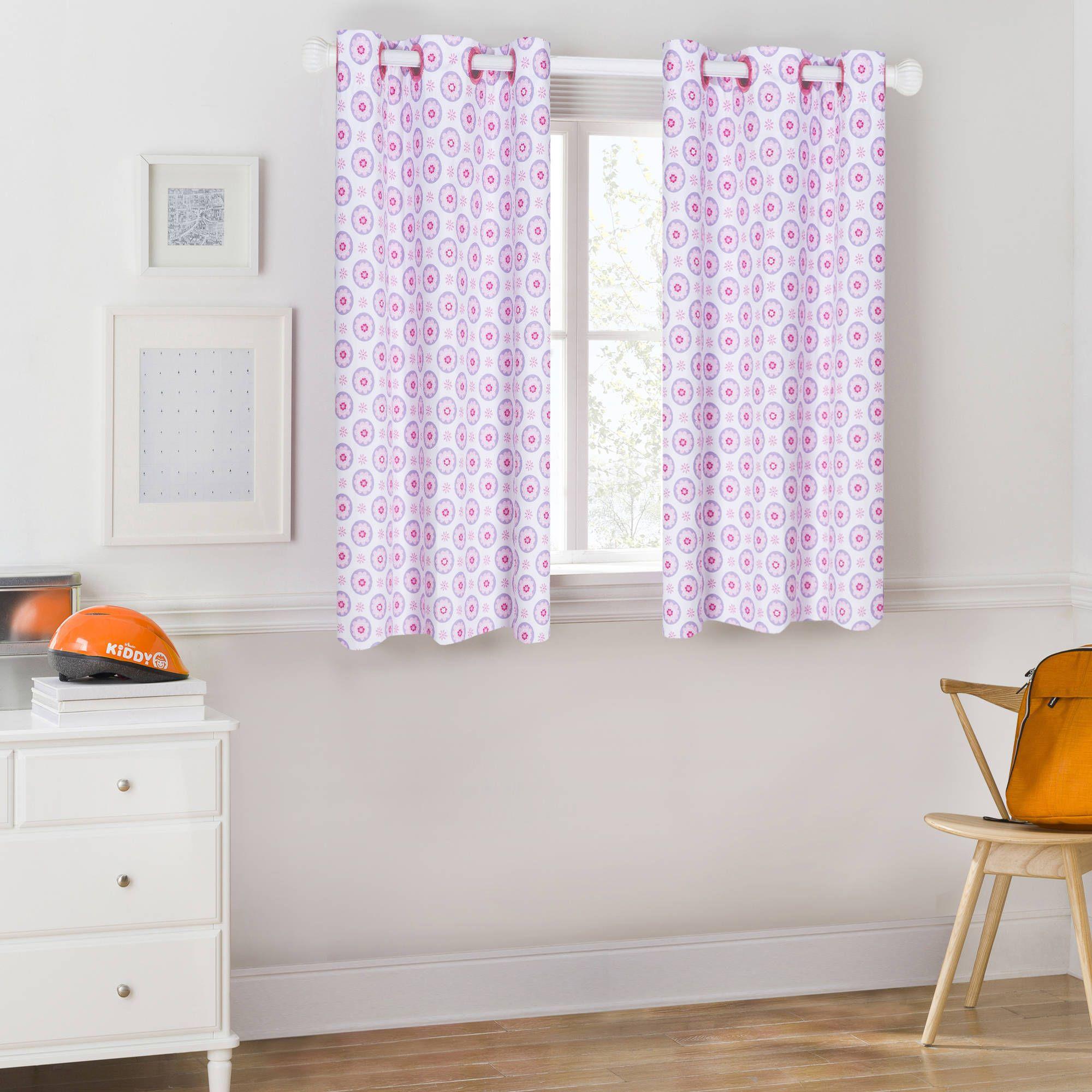 Mainstays Kids Pink And Purple Floral Room Darkening Coordinating Window Curtain Walmart Com Floral Room Curtains Window Curtains
