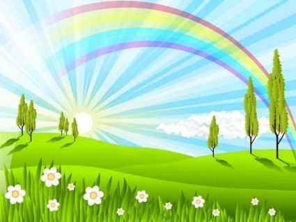 Blue Sky Rainbow Vector