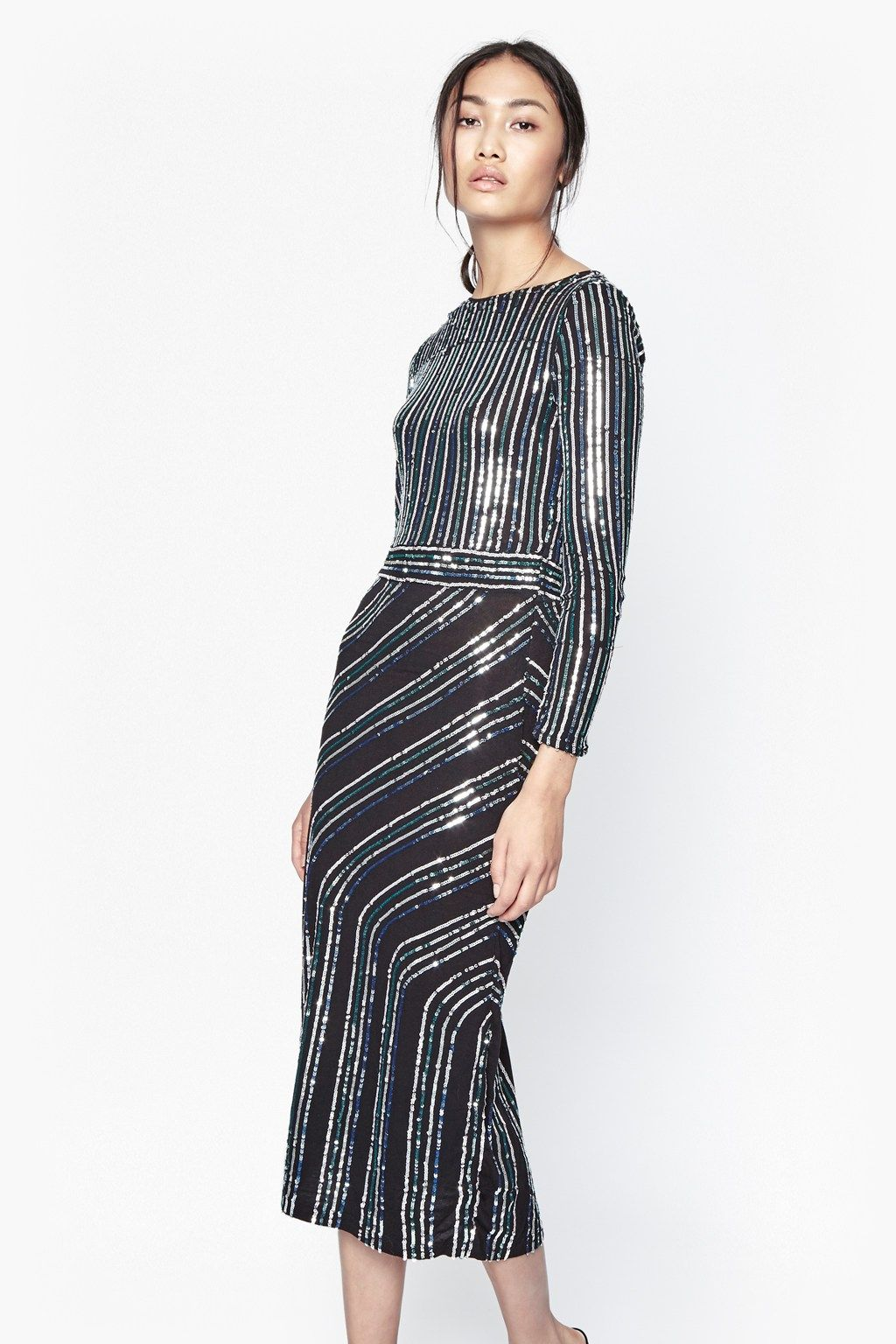 Fitted longsleeved maxi dress with sequin embellishment
