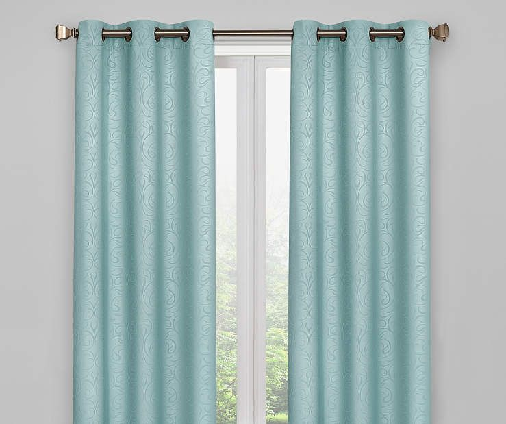 Living Colors Aqua Scroll Blackout Curtain Panel Pair 84 At