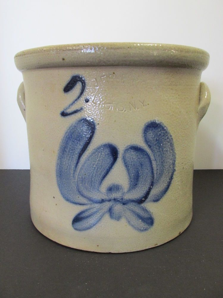 Antique Stoneware J Fisher And Co Lyons Ny Crock I