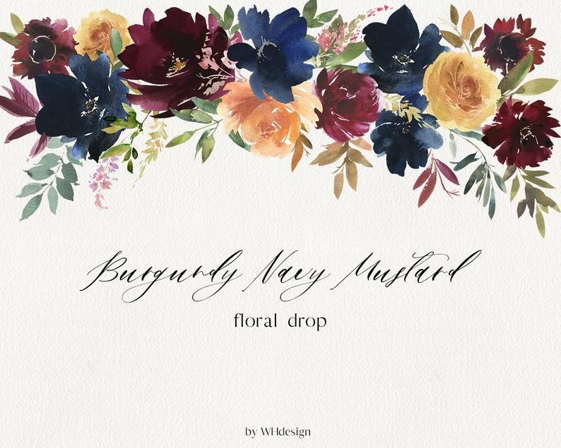 Burgundy Navy Mustard Watercolor Floral Clipart Red Blue Etsy Floral Watercolor Clip Art Floral Bouquets