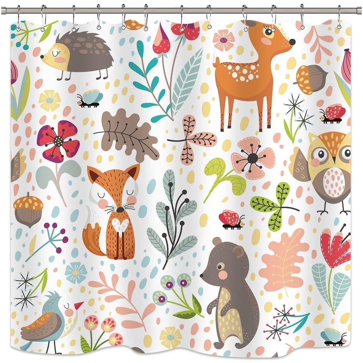 Children S Woodland Shower Curtain Forest Animals Green