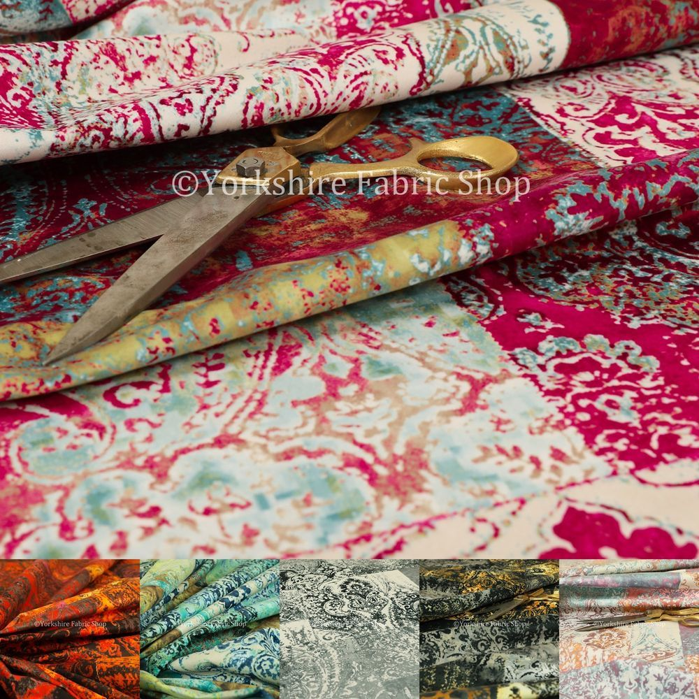 New Soft Printed Velvet Patchwork Damask Traditional Pattern