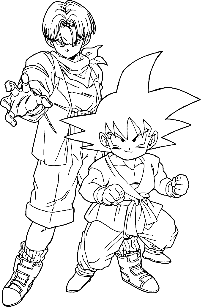 Son Goku With Trunks Dragon Ball Coloring Pages