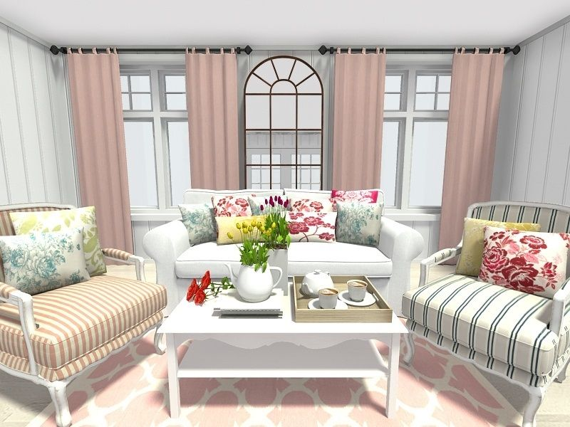 Spring Decorating Ideas Living Room With Floral And Trellis Pattern Home Decor