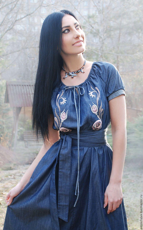 09801c35a15 Платья ручной работы. Длинное джинсовое платье