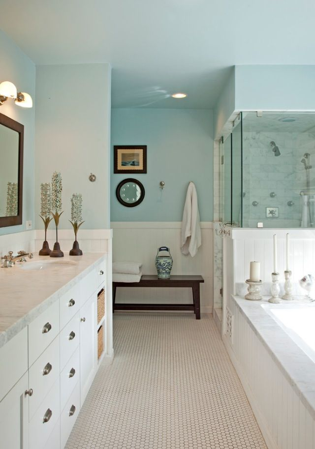 Relaxing Bathroom- I like the color combos, & will work with existing fixtures