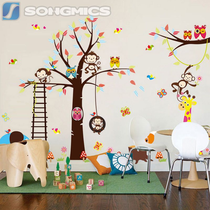 Wandtattoo kinderzimmer deko wald sticker tiere baum affe kinder zoo xxl fwt13c baby for Deko sticker kinderzimmer