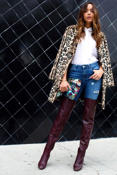 e051ddf3776 Jeans  ring my bell blogger shoes thigh high boots leopard print winter  outfits white shirt pouch