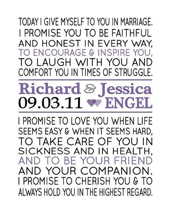 Custom Wedding Vow Print By EternalandTimeless On Etsy