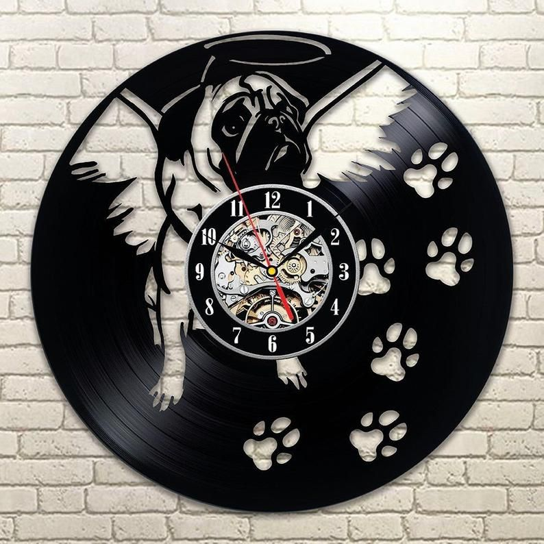 Pug Wall Art Modern Wall Clock Dog Pug Art Vinyl Record Clock Etsy Wall Vinyl Decor Kids Room Wall Decor Animal Wall Decor