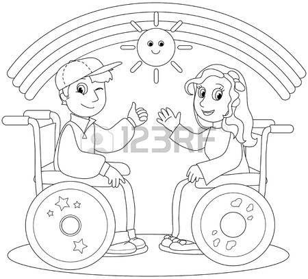 discapacitados felices: Ilustración para colorear de niño